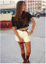 Laura Perez - Vintage Black T Shirt, Zara Belt, Levi's® My Mum's Shorts, Local Store Sandals - Summer Holidays