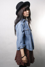 Sam S - Vintage Hat, Studded Denim Shirt, Floral Roses Skirt - Little Secrets