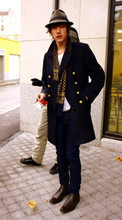 Aurélien Mick's son - Fripstar Marin Coat, April 77 Jean, Fripstar Vintage Scarf, Brown Shoes - My favourite
