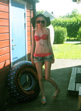 Shelley Mulshine - Lindex Bikini, Eyeglass Necklace, Lee Cut Off Jeans Made In To Shorts, Lindex Sunhat - Going to the beach