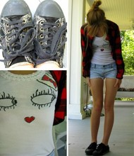 Allie B. - Diy Face Shirt, Ae Cutoffs, Thrift Flannel, Moms Shoes - Talk With Your Hips