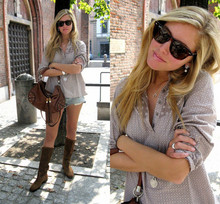 Chiara Ferragni - Tiffany & Co. Elsa Peretti Necklace, Ray Ban Rayban Wayfarer Brown, Chanel Earrings, H&M Shirt, Abercrombie Denim Shorts, Gucci Indy Bag, Brown Boots - Exams are almost over