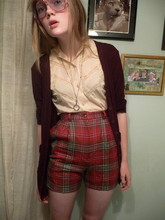 Belle Pilar - Mossimo Maroon Cardigan, Thrifted Lacy Blouse, Marc By Jacobs Monocle Necklace, Thrifted/Diy Plaid Shorts, Thrifted Glasses - Hang me out to dry.