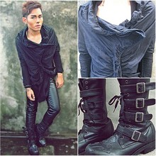 Karl Philip Leuterio - Piccinini Couture Assymetrical Top, Mango Bracelet, Japan Buckled Boots, American Apparel Black Leather Pants - Lick your cigarette and kiss me..