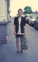Niilo L - Blazer, Valiant T Shirt, Self Made Shorts, Gift Glads, H&M Bag - You walk the surface of this town