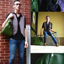 Kyle DeBoef - Thrift Vintage Glasses, Gap Shirt, Thrift Vest, Thrift Green Bag, Tj Max Jeans, Thrift Old Man Shoes - Deluge in the ghetto... long story