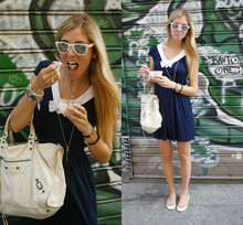 Chiara Ferragni - Wayfarer White Sunglasses, Brandy Sailor Dress, Glue Cinderella Flats By Kartell, Balenciaga Work White, Tiffany & Co. Key And Heart Necklace - The sailor girl and her ice cream