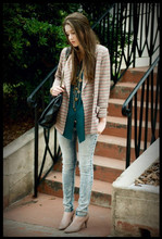 Katelyn Rose Caster - Thrift Vintage Big Button Striped Blazer., Thrift Oversized Button Shirt., Acid Washed Skinnies - In your presence I'm lost for words.