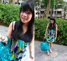 Joan Fong - Topshop Floral Print Canvas Shoe, Forever 21 Geometric Print Dress, Prada Turquoise Gauffre Tote - Green for Gaia