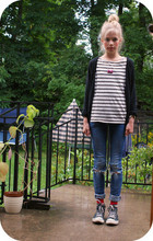 Clara Eliasson - Weekday Striped Sweater, Hm Cardigan, Hm Necklace, Cheap Monday, Converse - Eighteen stripes on my sweater
