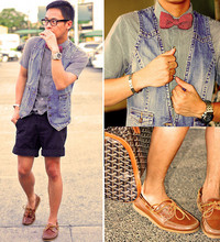 Dennis Robles - Oak Royal Offshore Watch, Thrifted Denim Vest, Izzue Plaid Polo, Cdn Black Shorts, Black Shoes Brown Boat, Goyard Croisiere 45, Maison Martin Margiela Steel Bracelet - I got teary eyed watching MJ's memorial service