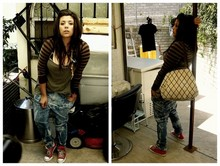 Blanka Pozos - Got Them In Amsterdam Sleeves, Thrift Blouse, Diy Jeans, Converse Chucks, Liz Claiborne Bag - I never wash my pants, i like to keep the night on them