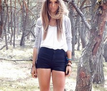 Lisa Olsson - American Apparel Shorts With Zippers, Weekday Top With, Topshop Cardigan, Fake Tatoo Haha - THATEMPTYFOREST.