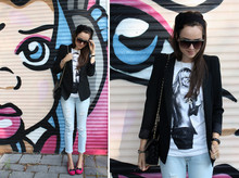 Andy T. - Marc By Jacobs Shoes, Zara Blazer, Diy Head Band, Urban Outfitters Shades, Roxy Heidi Klum Tee - MARC BY MARC JACOBS