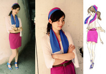 Nancy Zhang - Silk Neckerchief, Silk Purple Skirt, Wedges - Ultramarine violet.