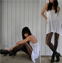 Jessica Marie. - Angled Tunic, Shredded Tights, Studded Peep Toe Booties - Monochrome.