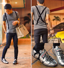Dennis Robles - Zara Grey Shirt With Suspender Trim, Zara Skinny Trousers, Moschino Silver Velcro Sneakers, Hermës Birkin 40cm Gris - Walking away from you...