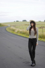 Alix - - American Apparel Aa Bodysuit, American Apparel Aa Pants, Sam Edelman Boots, Boyfriend's Hat - Stripped