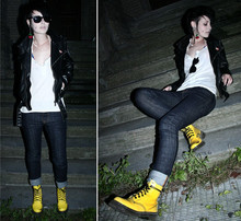 Kaja Is - Nudie Jeans, Dr. Martens Yellow Dr.Martens, Leather Jacket, Cherry Earring - Mummy! I'm not an abortion