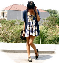 Adelle Veronica - Zara Blue Cardi, My Mom's Vintage Necklace, Second Hand, Pasar Baroe Blue Mini Dress, Ripcurl Small Drawstring Bag, Bloop T Bar Shoes - Friday, i'm in blue...