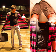 Dennis Robles - Yrys Striped Long Cardigan, Calvin Klein Black Shirt, Comme Des Garçons Red Belt, Zara Faded Jeans, Hermës Birkin 40cm Black, Zara Grey Suede Flats - I can't take it anymore
