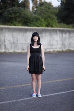 Chrissie White - Freeway Black Dress, Keds Blue Shoes - Taken by my australian lover