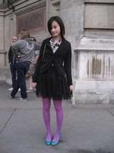 Chia Wen - Esprit Black Jacket, H&M Black Dress, M&S High Dolly Wood Shoes, French Connection Uk Check Tie, Unqlo Purple Tights - Fashion in Motion@ V&A