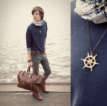 B Sattler - Zara Sailor Sweatshirt, Brooklyn Fashion Skarf, Cheap Monday Skinny Pants, The Bridge Leather Bag, Gravati Leather Shoes, Second Hand Wheel Charm - Set Sail