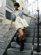 Louise Ebel - H&M Customized Jacket, H&M Skirt, The Frye Company Boots, Vintage Dress - Montmartre