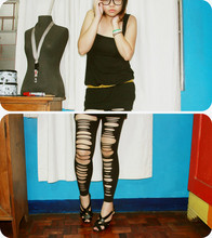Anne Vee - Black Jersey Dress, Folded & Hung Plaid Yellow Skinny Belt, Diy Ripped Leggings, Sm Dept Store Strappy Heels - I Tell My Love to Wreck it All