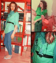 Francesca T. - Bershka Green Blouse, Zara Jeans   Leggins, United Colors Of Benetton Silver Flats, H&M Vintage Scarf, Accessorize Leather Belt - The library of my childish memoirs