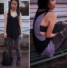 Sunny Sideup - Agent Ninetynine Backless Tank, Don't Ask Amanda Greyish Tank, Target Diy Ripped Jeans, The Cassette Society Bag, Roc Combat Boots - Holes