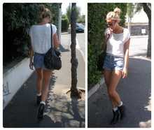 Adenorah M - Vintage Top, André Boots, Levi's® Short, Etam Sac - Decontract
