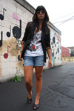 Krystal Bick - Express Black Tuxedo Jacket, The Beautiful Ones White, V Neck Owl Screen Printed T Shirt, Abercrombie & Fitch Diy Jean Cut Off Shorts, Kenzie Black Wedges, Vintage Multiple Necklaces - Leopards and owls