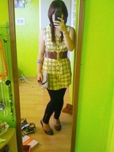 Juvy Yamilao - Forever 21 Dress Shirt, Charlotte Russe Long Leggings W/ Buttons, Nine West Round Toe Heels, Thrifted Shoulder Purse, Wet Seal Heart Waist Belt - Yellow