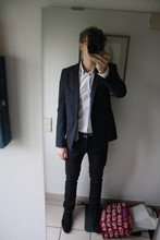 David ****** - Raf Simons Blaser, Dior Homme Shirt, Jil Sander Tie, Neil Barrett Belt, Balenciaga Waxed Jeans, Cos Shoes - Simon