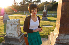 Kristina Michelle - Forever 21 Specs, American Apparel Striped Cotton Dress(Worn As Top), Black Cardigan, Kristina Michelle Design Green Skirt, Vintage Brown Bag - Graveyard