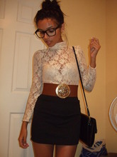 Karan R - Thrifted Bag, Bang On Glasses, Made By My Mom Lace Top, Vintage Belt, Zara Black Skirt - Oh baby, this is just the beginning...