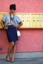 Krystal Bick - Target Diy Gray Slouchy Crop Top, Vintage Cobalt Blue Pencil Skirt, Aldo Leopard Print Heels, Chanel White Chain Wannabe Purse, Charlotte Russe Gem Embellished Bib Necklace, Steve Madden Jackie O Sunnies - Where the wild things are