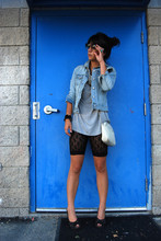 Krystal Bick - Old Navy Jean Jacket, Target Gray Slouchy T Shirt, Target Black Lace Bike Shorts, Chanel White Chain Wanna Be Purse, Kenzie Black Peep Toe Wedges - Blue jean baby
