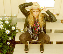 Heidi R - Cubus Hat, Dna Shoes, H&M Tights, Only Jacket - Sweet summer flowers