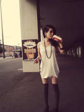 Becci B. - Leather Wedges, Over Knee Stockings, Large Tank Top, Silver Grey Chain - Waiting for the fireworks