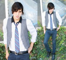 Steven Oviedo - Vintage Vest, H&M Dress Shirt, Christian Dior Tie, American Apparel Slim Slack, Aldo Boots - The Motorcycle Diares