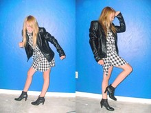 Madylynn A. - Goodfrickinwill Booots, Nordtromes Rack:))) Pink Rose Plaid Dress, Tillys Leather Full Tilt Jacket With Shoulder Pads, My Dad Painted Room Blue Wall - Its always fisty in my leather jacket and brand new blue room