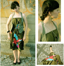 Aga K. - Topshop Olive Vest, H&M Dress With Birds, Atmosphere Quillted Shoes, C&A Olive Earrings - Summer time..