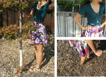 Julie J - Forever 21 Floral Skirt, Franco Sarto Glads, American Apparel Forest Green V Neck, Urban Outfitters Silver Locket - Back In Your Head