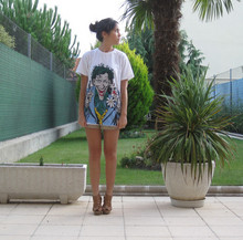 Cris S. - Pull & Bear The Joker Shirt, Blanco Brown Leather Shoes, H&M Highwaisted Safari Shorts - The Joker