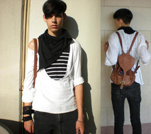Ethan J - H&M Striped Shirt, Altered It Myself White Linen Shirt, Diesel Black Skinny Jeans, American Apparel Black Scarf, Coach Brown Leather Backpack - Take Me Anywhere