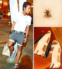 Dennis Robles - 5cm Fly Emblem Shirt, Maison Martin Margiela Papercut Belt, Hipstop Pinstriped Shorts, Raf Simons White Airplane Sandals, Hermës Ivory 40cm Birkin - How do you kill a fly that is made of metal