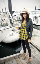 Megan Catfish - Delux Hat, Sirens Shirt, Leggings, Sirens Leather Jacket, Sterling Shoes - Boat